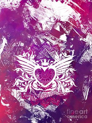 Queen Digital Art - Purple Heart  by Justyna JBJart