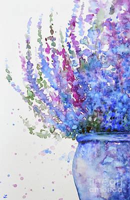 Ling Painting - Purple Heather In The Pot by Zaira Dzhaubaeva