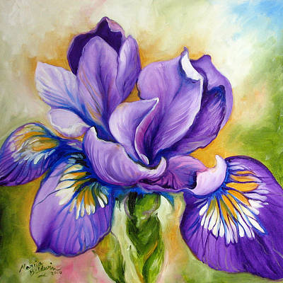 Louisiana Oil Painting - Purple Iris Wildflower by Marcia Baldwin