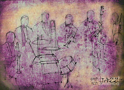 Musicos Drawing - Purple Jazz Band by Pablo Franchi
