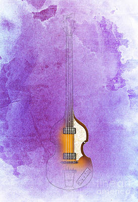 Mccartney Drawing - Purple Jazz Bass by Pablo Franchi