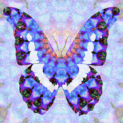 Purple Mandala Butterfly Art By Sharon Cummings Print by Sharon Cummings