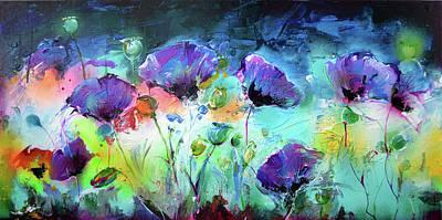 Poppies Field Painting - Purple Opium Modern Painting by Soos Roxana Gabriela