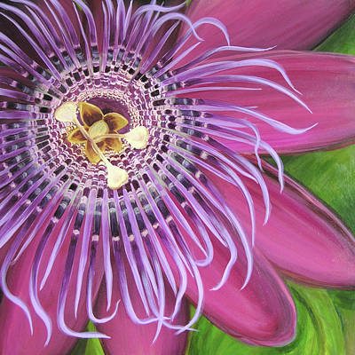 Passionflower Painting - Purple Passionflower by Clary Sage Moon