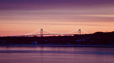 Purple Pell Bridge Panorama Print by Vicki Jauron