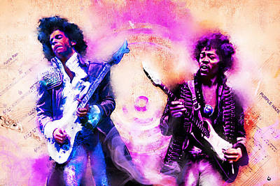 Rnb Mixed Media - Purple Rain Meets Purple Haze by Howard Barry