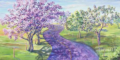 Purple Road - Springtime Print by Malanda Warner