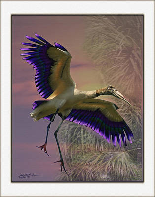 Stork Mixed Media - Purple Stork by John Breen