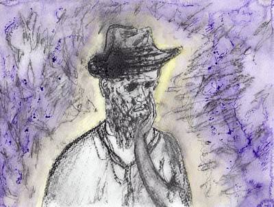 Contemplating Drawing - Purple Thoughts by Jim Taylor