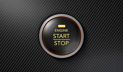 Round Digital Art - Push To Start Carbon Fibre Button by Allan Swart
