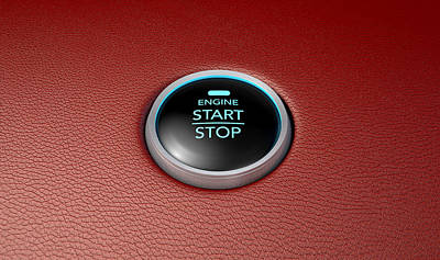 Push To Start Red Leather Button Print by Allan Swart