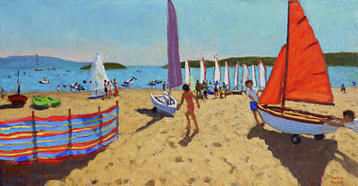 Sports Painting - Pushing Out The Boat, Abersoch by Andrew Macara