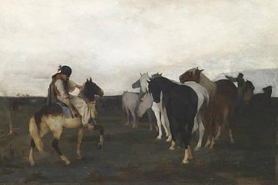 Puszta Horses Print by Otto von Faber du Faur