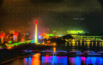 Construction Digital Art - Pyongyang Night Scene - Da by Leonardo Digenio