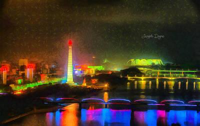 Futuristic Digital Art - Pyongyang Night Scene - Da by Leonardo Digenio