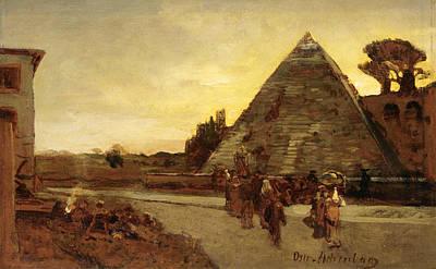 Oswald Achenbach Painting - Pyramid Of Cestius by Oswald Achenbach