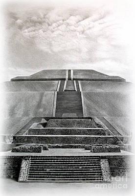 Ancient Civilization Drawing - Pyramid Of The Sun by Miro Gradinscak