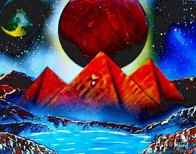 Outer Space Painting - Pyramids 4663 E by Greg Moores