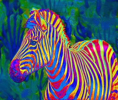 Zebra Digital Art - Pyschedelic Zebra by Jane Schnetlage