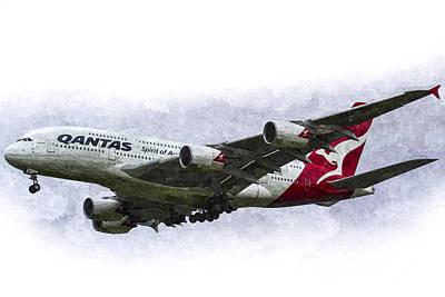 Airliners Digital Art - Qantas Airbus A380 Art by David Pyatt