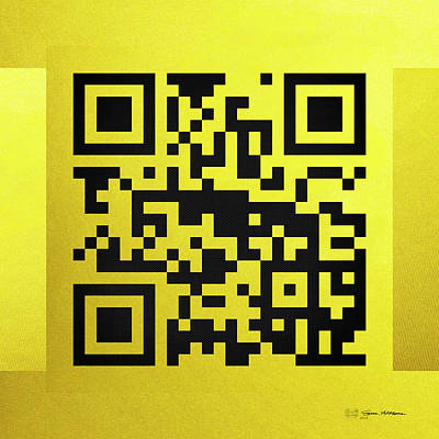 Qr Codes - Code Yellow Print by Serge Averbukh