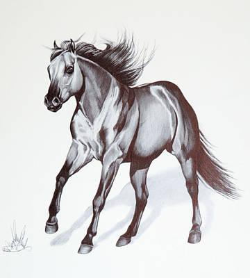 Quarter Horse At Lope Print by Cheryl Poland