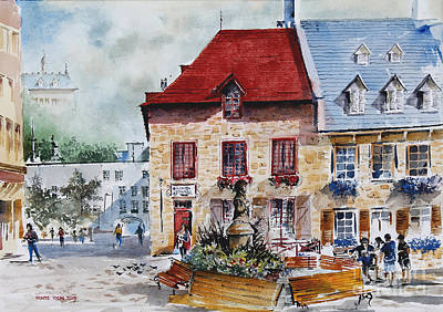 Quebec Cities Painting - Quebec City Flower Boxes by Monte Toon