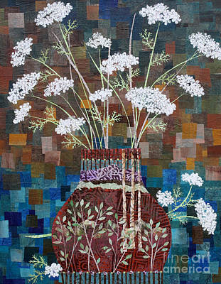 Queen Anne's Lace In Vase With Birches Print by Janyce Boynton