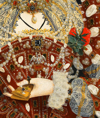Ruff Painting - Queen Elizabeth I   Detail From The Pelican Portrait by Nicholas Hilliard