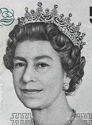 Finance Photograph - Queen Elizabeth II Portrait On 5 Pound Sterling Banknote by Michal Bednarek