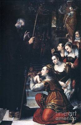 Present Painting - Queen Luisa Of France Presenting by Fontana