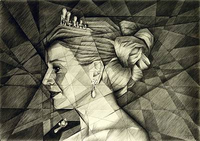 Nederland Drawing - Queen Maxima Of The Netherlands - 17-10-14 by Corne Akkers