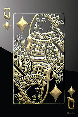 Queen Of Diamonds In Gold On Black  Original by Serge Averbukh