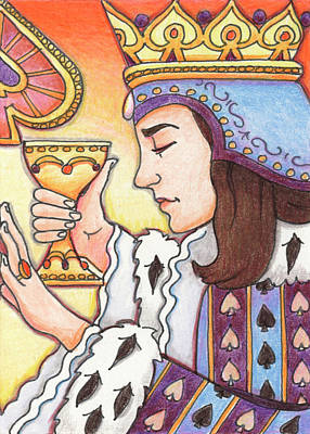 Artist Trading Cards Drawing - Queen Of Spades by Amy S Turner