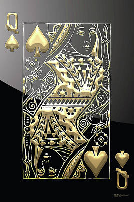 Queen Of Spades In Gold On Black   Original by Serge Averbukh