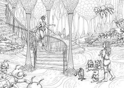 Sioux Drawing - Queen Of The Hive by Reynold Jay