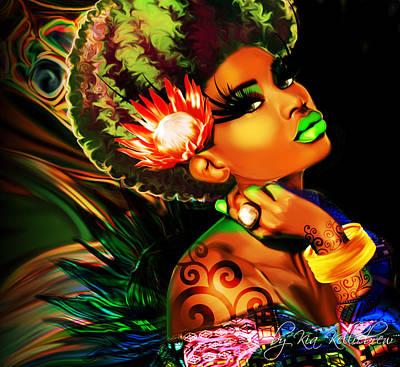 Royalty Digital Art - Queen Protea by Kia Kelliebrew