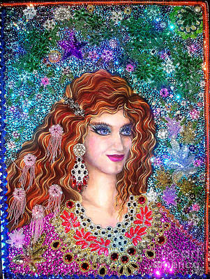 Queen Sofia Goldberg. Beadwork Embroidery Print by Sofia Metal Queen