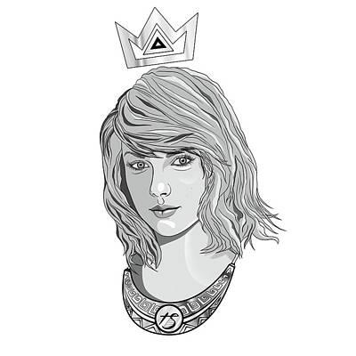 Queen Taylor Swift In Grey Print by Kenal Louis