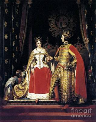 Queen Victoria And Prince Albert At The Bal  Print by Sir Edwin Henry Landseer