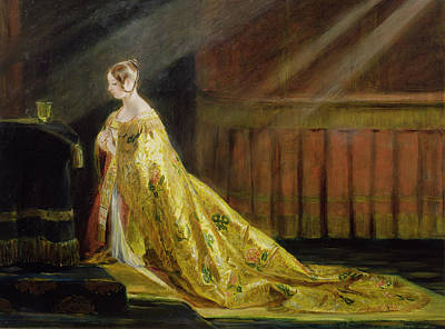 Sun Rays Painting - Queen Victoria In Her Coronation Robe by Charles Robert Leslie