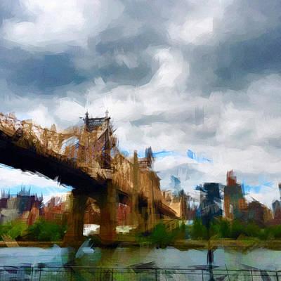 Nyc Digital Art - Queensborough Bridge by H James Hoff