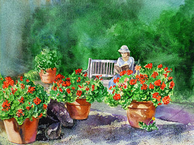 Red Geranium Painting - Quiet Moment Reading In The Garden by Irina Sztukowski