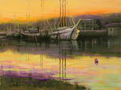 Painting - Quiet Sunset by Chin H  Shin