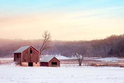 Red Barns Photograph - Quiet Winter Valley by Todd Klassy
