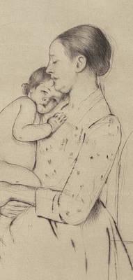 Nude Children Drawing - Quietude by Mary Stevenson Cassatt