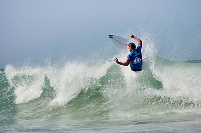 Print featuring the photograph Quiksilver Pro France I by Thierry Bouriat