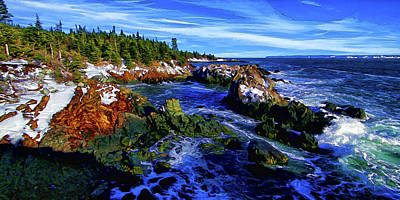 Digitally Manipulated Photograph - Quoddy Coast With Snow by ABeautifulSky Photography