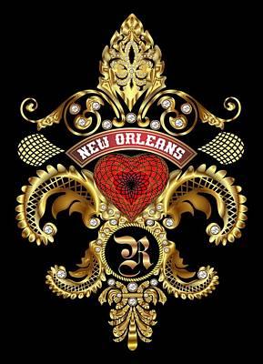 R-fleur-de-lis New Orleans Transparent Back Pick Color Print by Bill Campitelle