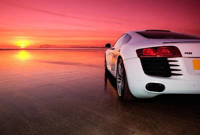Audi Quattro Sport Photograph - R8 On A Beach - Side View by Rory Trappe